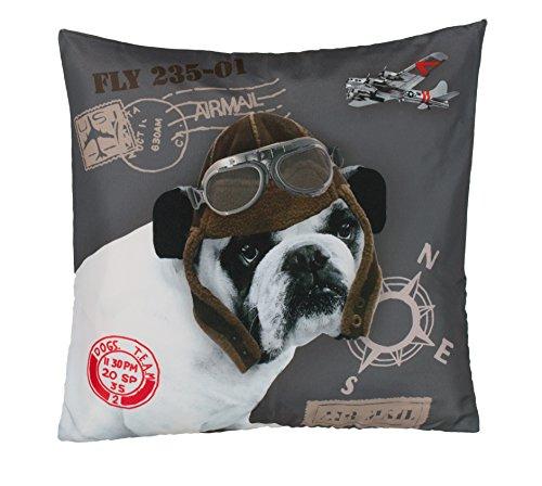 Brandsseller Trendline Dekokissen Zierkissen Kuschelkissen - Piloten Bulldogge - MIT FÜLLUNG