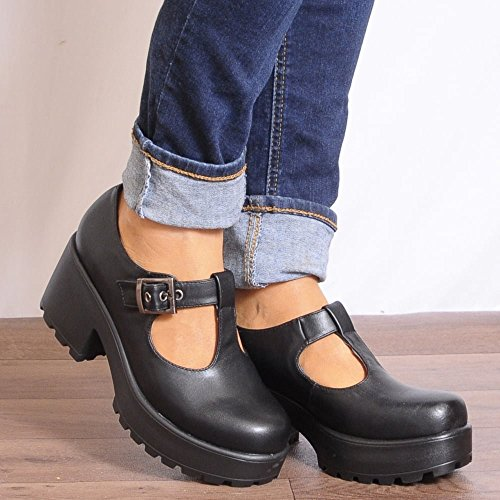 Womens Noir Cramponnées Plateformes En Forme De T Boucle Chunky Cour Chaussures Talons Hauts Noir