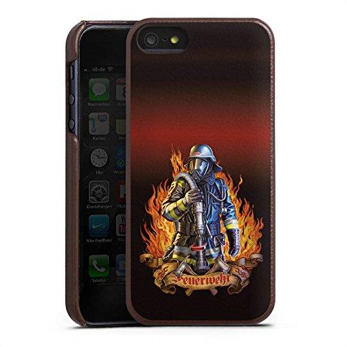 Apple iPhone 6s Lederhülle Leder Case Leder Handyhülle Feuerwehrmann Feuerwehr Firefighter Leder Case braun