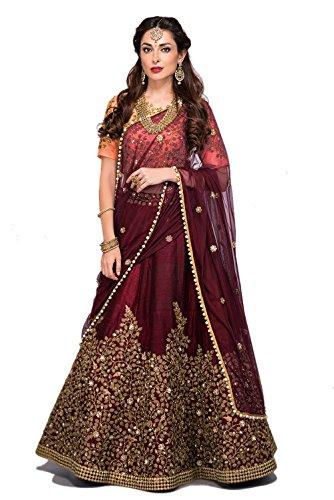 Zeel Clothing Heavy Dori Embroidered Silk Maroon Lehenga with Peach Blouse Dupatta...