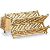 Relaxdays 10020326 Égouttoir à vaisselle et couverts avec panier à couverts CROSS bois de bambou pliant grande tasse grande assiette, nature 24 x 46 x 28 cm