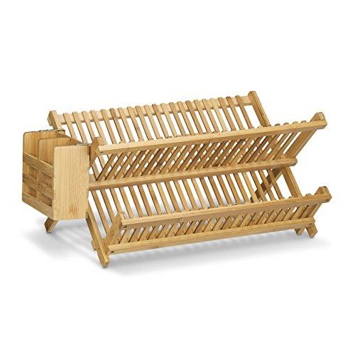 relaxdays abtropfgestell cross mit besteckkorb hbt 24 x 46 x 28 cm abtropfgitter bambus klappbar. Black Bedroom Furniture Sets. Home Design Ideas