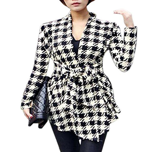 Hirolan Koreanisch Frau Muster Dünn Strickjacke Outwear (L, PIC) (Jacke Check Houndstooth)