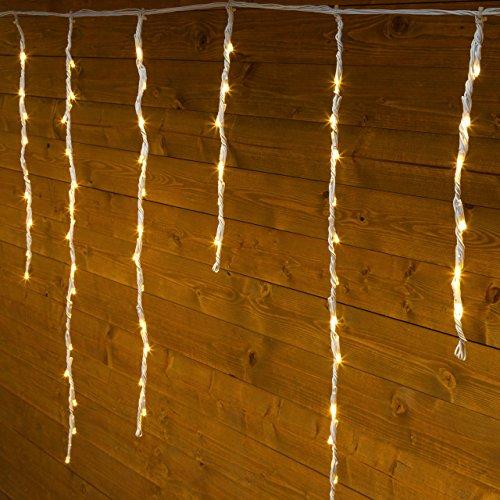 Stalattite Snow light 3 x 0,8 m, 192 led bianco caldo, cavo bianco in gomma, con controller, 4 velocità, tende luminose, luci natalizie