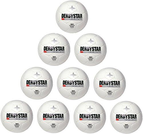 10er Paket Derbystar Brillant TT Weiss Fußball Trainingsball -weiß-, Größe:5, Farbe:Weiß