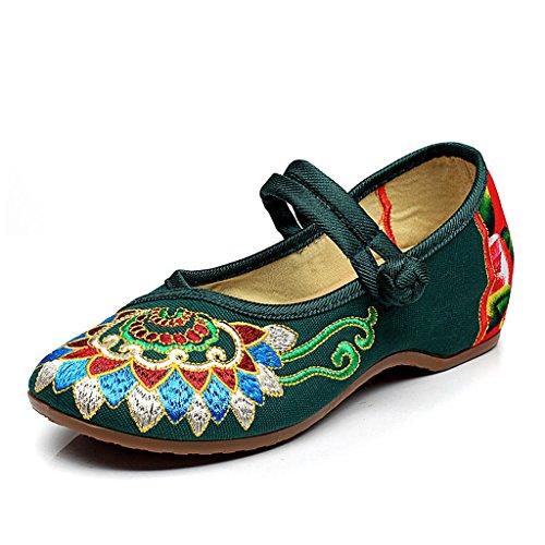 Traumfänger Weinlese-Ethnische Art Gestickte Schuhe Beiläufige Niedrige Ferse Breathable Tuch Beschuht Bequeme Ballett-Schuhe (Farbe : Grün, Größe : 39) (Größe 10-plattform Turnschuhe)