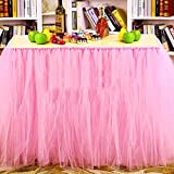 Jupe de table, Romantique gaze bureau Tulle, Décoration de table, flocon de neige Wonderland linge de table, pour la fête de naissance, de mariage, anniversaire, Fête, Bar, bal, la Saint-Valentin Noël
