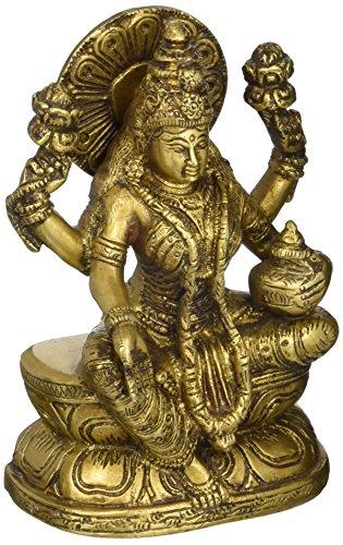 Exotic India seduti dea Lakshmi–Brass Statue