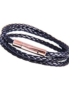 IhnSie Lederketten Armbänder Damenketten Herrenketten Wickelarmbänder Rosegold Schwarz 38 - 70 cm lang