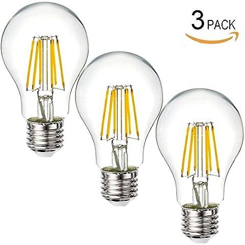 XINBAN confezione da 3, 6 W, a LED, E27, A60 con lampadina con filamento, equivalente a lampadina a incandescenza da 80 W, colore bianco freddo 6000 K, 220 V
