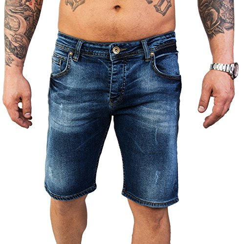 Rock Creek Herren Shorts Jeansshorts Denim Stretch Sommer Shorts Regular Slim [RC-2125 - Dark Blue W34]