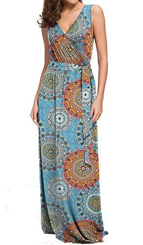 CLOUSPO Sommerkleid Damen V Ausschnitt Ärmellos Maxikleider Lange Kleider Strandkleider (Small, Sonne Blau)