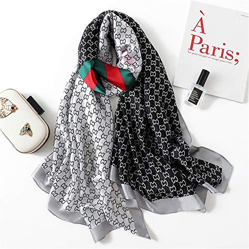 DYEWD sciarpe di Alta qualità Seta Sciarpa da Donna Sciarpa Selvaggia Moda Scialle Sciarpa Doppio Uso Caldo e Antivento Nero