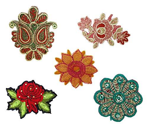 Indischen Ethnischen Kostüm - PEEGLI Mehrfarbig 85 Applikationen Vintage Patches Ethnischen Stoff Dekor DIY Verziert Handwerk Nähen Kostüm