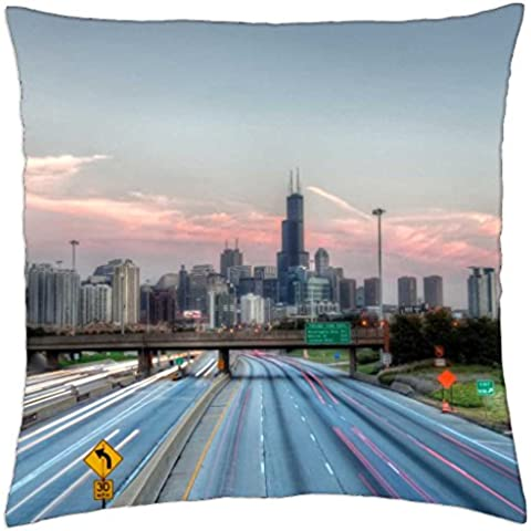 gateway to the windy city hdr - Throw Pillow Cover Case (18