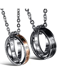 """JewelryWe Valentines Day Gift Stainless Steel """"Endless Love"""" Double Rings Women Mens Promise Pendant Necklace, Rose Gold Silver Black"""