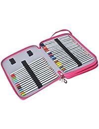 Magiin Sac Crayon de Couleur 120 Couleurs en Oxford Extérieur en PU Cuir Organisateur Crayon Porte-crayons pour Dessin - Rose