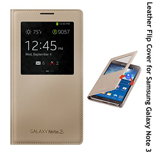 Samsung Galaxy Note 3 Royal Leather Flip Case Cover with Sensor Window View for Samsung Galaxy Note 3 - Gold  available at amazon for Rs.2099