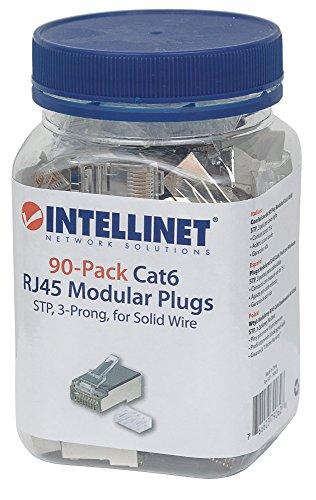 Intellinet 90er-Pack Cat6 RJ45-Modularstecker (STP, 3-Punkt-Aderkontaktierung, für Massivdraht) 790628 grau