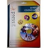 Pressit blanco mate CD/DVD 50-unidades etiquetas A4 caso de hojas A5