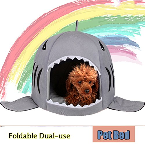 Kry Pet Nest Bett Hund Katze Betten schläft, faltbar Shark Design mit doppeltem Verwendungszweck Puppy Bett Höhle Haus Welpen Weich Warm Kissen Puppy Sleeping House (Shark Anzug Für Hunde)