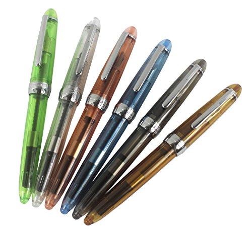 6 plumas Jinhao 992 pluma plástica conjunto, transparente, diversidad color...