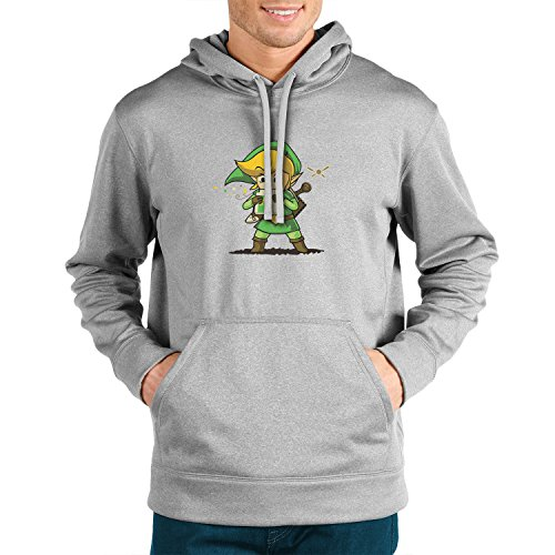 Cartridge Link - Herren Hooded Sweater, Größe: XL, Farbe: grau (Legend Of Zelda Ocarina Of Time Link Kostüm)