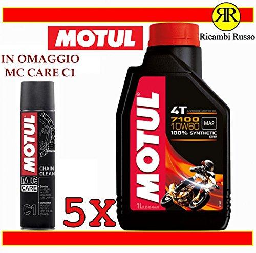 Motul 7100 10w60 olio motore moto 4 tempi litri 5 + OMAGGIO MC Care C1 Ch