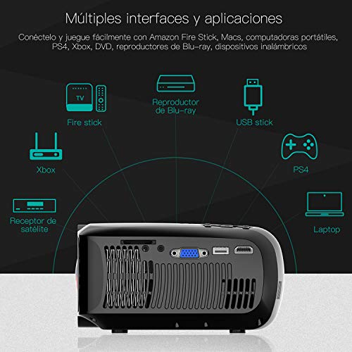 Proyector ABOX 3000 Lúmenes, Resolución Nativa 720p LED Mini Portátil Proyector A2, Soporte 1080P Full HD, 32 - 176', Apoyo Fire TV Stick/Xbox/PS4/PC/Mac/iphone/Android con mutilpes interfaces