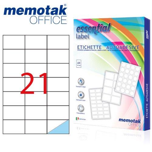 Packung mit 100Blatt A4Etiketten Aufkleber memotak Format in Millimeter 63,5x 38,12100Etiketten für Behälter