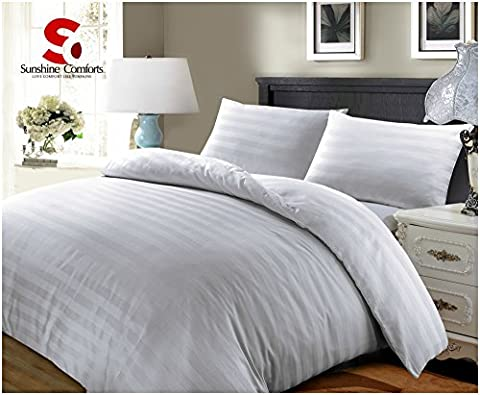 Sunshine Comforts® 100% Egyptian Cotton 500 Thread Count Satin Stripe Beautiful Duvet Cover Sets All Sizes (Double, Striped White)