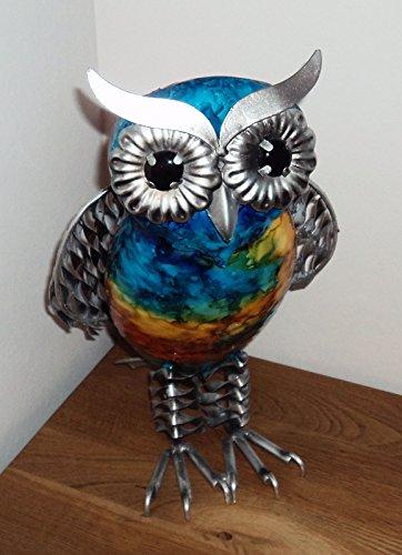 Juliana Natural World Figurine peinte à la main en forme de hibou en métal à poser