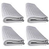 4x Handtuch Gästetuch in Waffelpique 100 x 50 cm aus Baumwolle / Wabengewebe grau
