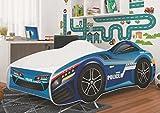 Autobett CAR POLICE Rennfahrerbett Polizei Kinderbett Spielbett Bett Blau/Weiß