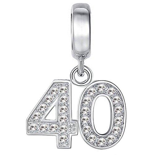 91a812722e2b Cuenta para pulsera   colgante de celebración de 40 cumpleaños – en plata  de ley 925