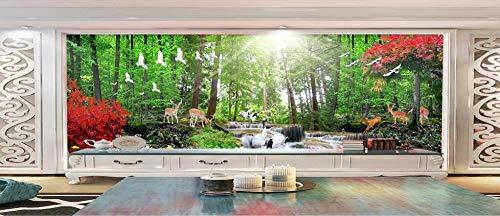 WORINA Mural de pared 3D Fondo de pantalla Naturaleza Paisaje HD Árboles rojos Ciervos de los árboles Fondo de fantasía del bosque Fondos de pantalla 3d, 430x300 cm (169.3 por 118.1 in)