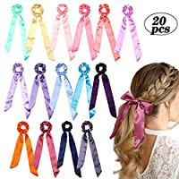 WATINC 20Pcs Colorful Bowknot Scrunchies Silk Satin Hair Ties with 2 in 1 Solid Color Traceless Hair Bobbles Vintage Ponytail Holder Hair Accessories Ropes Scrunchies for Women