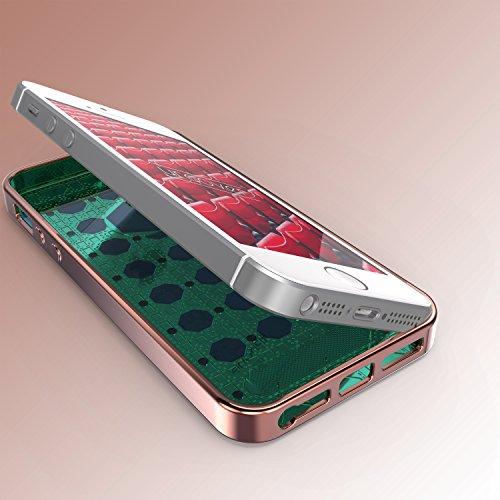 iPhone 5 / 5s / SE Coque, Urcover Housse Souple Oriental Glittery Diamant Brillant Strass Étui Apple iPhone 5 / 5s / SE Case Or - Fuchsia Bling Téléphone Smartphone Rose Dorée et Bleu