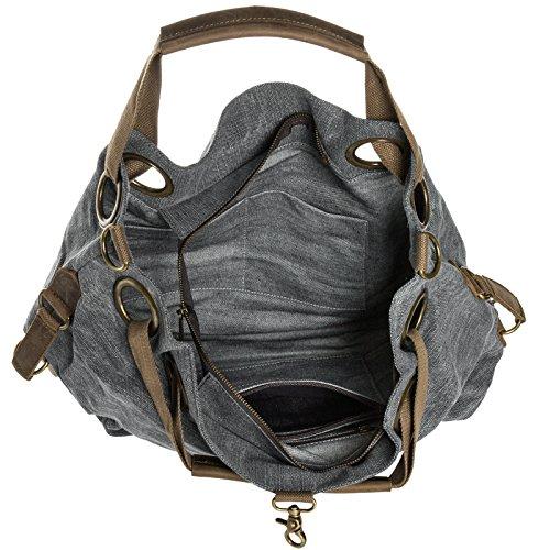 CASPAR Damen Vintage Freizeit Tasche / Ledertasche / Umhängetasche mit stylischem Canvas / Leder Mix - viele Farben - TL675 schwarz
