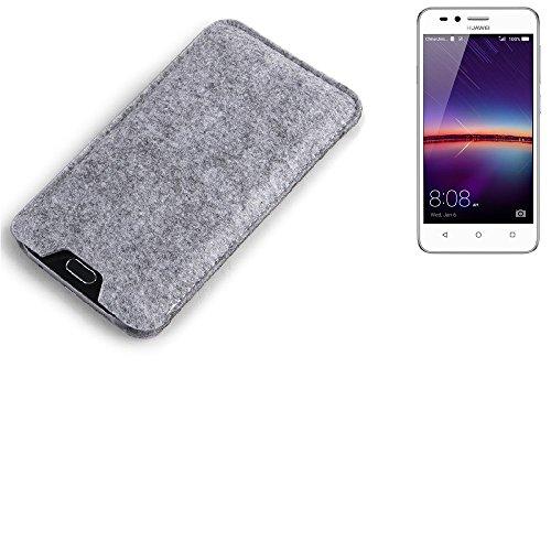 K-S-Trade Filz Schutz Hülle für Huawei Y3 II Dual-SIM Schutzhülle Filztasche Filz Tasche Case Sleeve Handyhülle Filzhülle grau