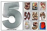 EURO TINS molde para tarta de cumpleaños de número pequeño CINCO 5 (tamaño 25 x 18 cm - 5,5 cm de profundidad)