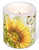 Unbekannt Kerze XXL Stumpenkerze mit Verschiedene Motive für Das Ganze Jahr 10 cm Hoch Hochzeit Frühling Sommer in Folie Verpackt, Lange Brenndauer (Kerze Sonnenblume)