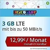 discoSURF Internet-Flat 3 GB LTE [SIM, Micro-SIM und Nano-SIM] monatlich kündbar (3 GB LTE mit max. 50 MBit/s, 12,99 Euro/Monat ) O2-Netz preiswert