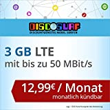 discoSURF Internet-Flat 3 GB LTE [SIM, Micro-SIM und Nano-SIM] monatlich kündbar (3 GB LTE mit max. 50 MBit/s, 12,99 Euro/Monat ) O2-Netz