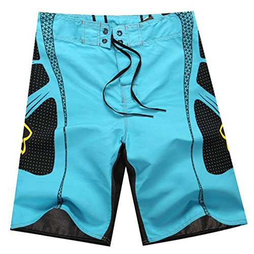 Baymate Hommes Boardshorts Maillots De Bain Épissure Pantalon Court De Plage Bleu