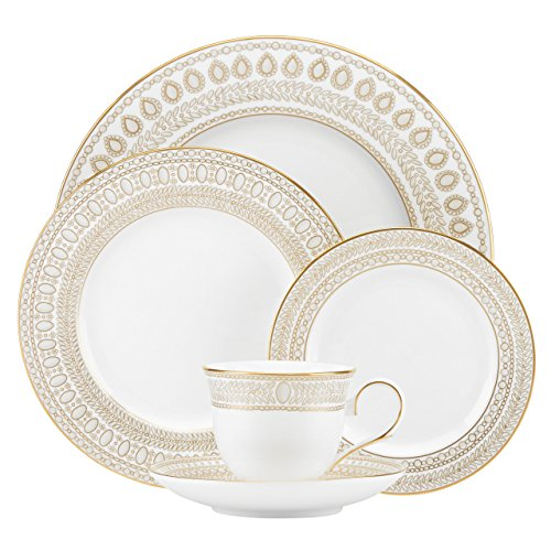 Lenox Marchesa Gilded Pearl 5 Piece Place Setting, White Casuals China Pearl