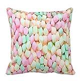 perfecone Hauptverbesserung Kissenbezug Rosa Blau Gelb Marshmallow Design f¨¹r Sofa und Auto Kissenbezug 1 Pack