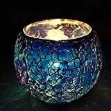 King International Blue Crystal Glass Tea Light Holder With Beautiful Design | Set Of 1 For Home,Office,Wedding Décor