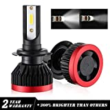 Kit Phare LED COB H7 6000K Lampe Phare Avant LED 48W 6000LM Lampe Bi-Xénon Ampoules Super Bright Froid Blanc Pure Tout en Un Lampe de Remplacement Garantie 2 ans Lampe Phare Avant Automatique