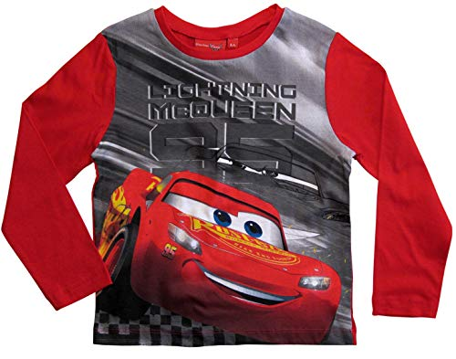 Cars Disney 3 Langarmshirt Lightning McQueen Jungen (Rot, 128)